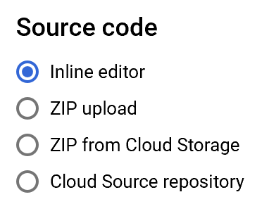 cloud function source code selection