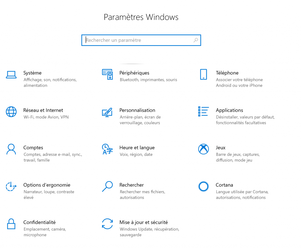 windows 10 parameters